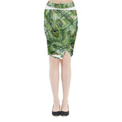 Peacock Feathers Pattern Midi Wrap Pencil Skirt