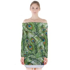 Peacock Feathers Pattern Long Sleeve Off Shoulder Dress