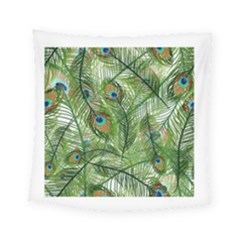 Peacock Feathers Pattern Square Tapestry (small)