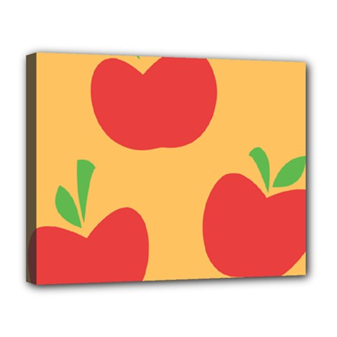 Apple Fruit Red Orange Canvas 14  x 11