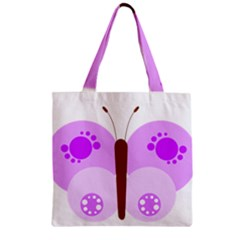 Butterfly Flower Valentine Animals Purple Brown Zipper Grocery Tote Bag