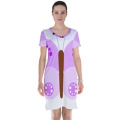Butterfly Flower Valentine Animals Purple Brown Short Sleeve Nightdress