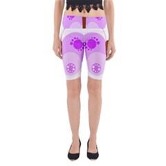 Butterfly Flower Valentine Animals Purple Brown Yoga Cropped Leggings