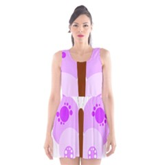 Butterfly Flower Valentine Animals Purple Brown Scoop Neck Skater Dress