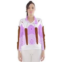 Butterfly Flower Valentine Animals Purple Brown Wind Breaker (Women)