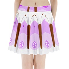 Butterfly Flower Valentine Animals Purple Brown Pleated Mini Skirt