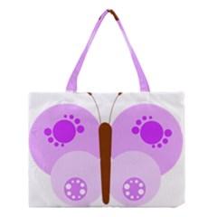 Butterfly Flower Valentine Animals Purple Brown Medium Tote Bag
