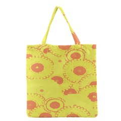 Circles Lime Pink Grocery Tote Bag