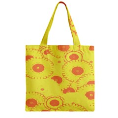 Circles Lime Pink Zipper Grocery Tote Bag