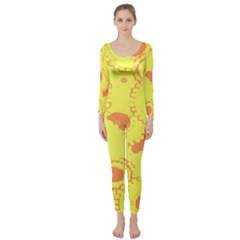 Circles Lime Pink Long Sleeve Catsuit