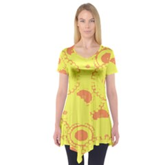 Circles Lime Pink Short Sleeve Tunic