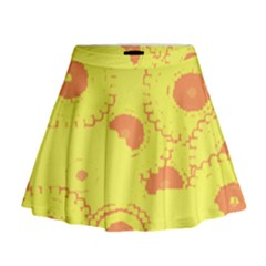 Circles Lime Pink Mini Flare Skirt