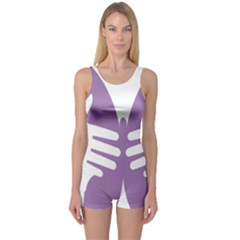 Colorful Butterfly Hand Purple Animals One Piece Boyleg Swimsuit