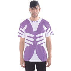 Colorful Butterfly Hand Purple Animals Men s Sport Mesh Tee