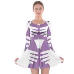 Colorful Butterfly Hand Purple Animals Long Sleeve Skater Dress