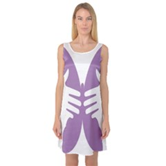 Colorful Butterfly Hand Purple Animals Sleeveless Satin Nightdress