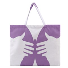 Colorful Butterfly Hand Purple Animals Zipper Large Tote Bag