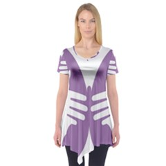 Colorful Butterfly Hand Purple Animals Short Sleeve Tunic