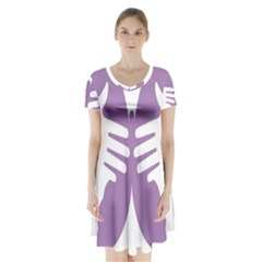 Colorful Butterfly Hand Purple Animals Short Sleeve V-neck Flare Dress
