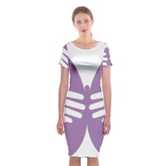 Colorful Butterfly Hand Purple Animals Classic Short Sleeve Midi Dress