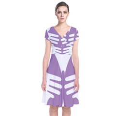 Colorful Butterfly Hand Purple Animals Short Sleeve Front Wrap Dress