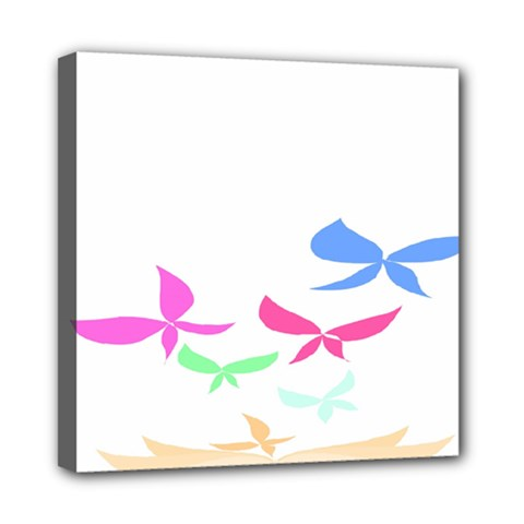 Colorful Butterfly Blue Red Pink Brown Fly Leaf Animals Mini Canvas 8  x 8