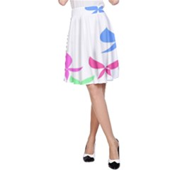 Colorful Butterfly Blue Red Pink Brown Fly Leaf Animals A-Line Skirt