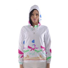 Colorful Butterfly Blue Red Pink Brown Fly Leaf Animals Hooded Wind Breaker (Women)