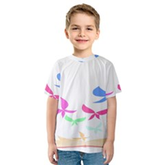 Colorful Butterfly Blue Red Pink Brown Fly Leaf Animals Kids  Sport Mesh Tee