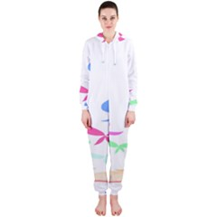 Colorful Butterfly Blue Red Pink Brown Fly Leaf Animals Hooded Jumpsuit (Ladies)