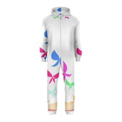 Colorful Butterfly Blue Red Pink Brown Fly Leaf Animals Hooded Jumpsuit (Kids)