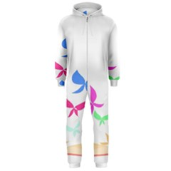 Colorful Butterfly Blue Red Pink Brown Fly Leaf Animals Hooded Jumpsuit (men)