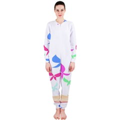 Colorful Butterfly Blue Red Pink Brown Fly Leaf Animals OnePiece Jumpsuit (Ladies)