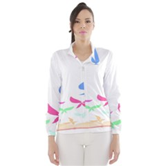 Colorful Butterfly Blue Red Pink Brown Fly Leaf Animals Wind Breaker (Women)
