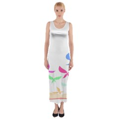 Colorful Butterfly Blue Red Pink Brown Fly Leaf Animals Fitted Maxi Dress