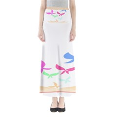 Colorful Butterfly Blue Red Pink Brown Fly Leaf Animals Maxi Skirts