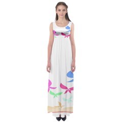 Colorful Butterfly Blue Red Pink Brown Fly Leaf Animals Empire Waist Maxi Dress