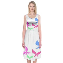 Colorful Butterfly Blue Red Pink Brown Fly Leaf Animals Midi Sleeveless Dress