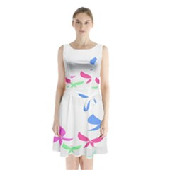 Colorful Butterfly Blue Red Pink Brown Fly Leaf Animals Sleeveless Chiffon Waist Tie Dress