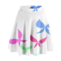 Colorful Butterfly Blue Red Pink Brown Fly Leaf Animals High Waist Skirt