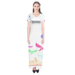 Colorful Butterfly Blue Red Pink Brown Fly Leaf Animals Short Sleeve Maxi Dress