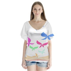 Colorful Butterfly Blue Red Pink Brown Fly Leaf Animals Flutter Sleeve Top