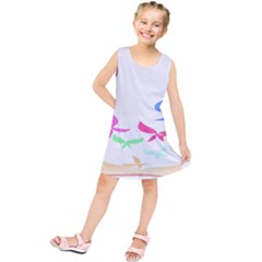 Colorful Butterfly Blue Red Pink Brown Fly Leaf Animals Kids  Tunic Dress