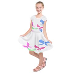Colorful Butterfly Blue Red Pink Brown Fly Leaf Animals Kids  Short Sleeve Dress