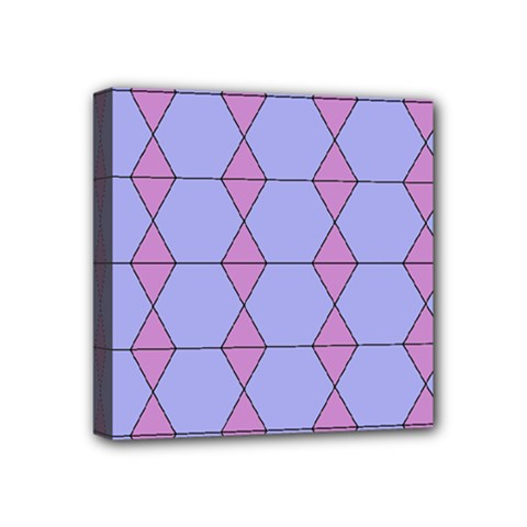 Demiregular Purple Line Triangle Mini Canvas 4  x 4