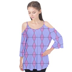 Demiregular Purple Line Triangle Flutter Tees
