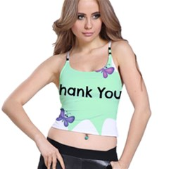 Colorful Butterfly Thank You Animals Fly White Green Spaghetti Strap Bra Top