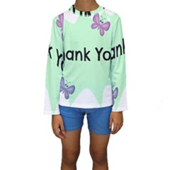 Colorful Butterfly Thank You Animals Fly White Green Kids  Long Sleeve Swimwear