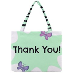 Colorful Butterfly Thank You Animals Fly White Green Mini Tote Bag