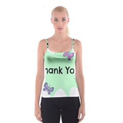 Colorful Butterfly Thank You Animals Fly White Green Spaghetti Strap Top